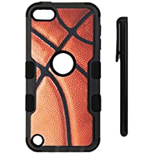 iPod Touch 5th Gen/ 6th Gen Case, Mybat Tuff Basketball Dual Layer [Shock Absorbing] Protection Hybrid Rubberized Hard PC/ Silicone Case Cover For Apple iPod Touch 5th Gen/ 6th Gen, Brown/ Black