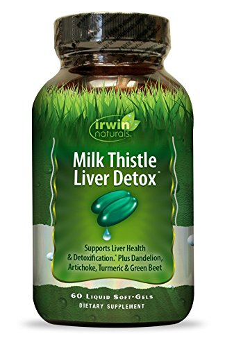 Milk Thistle Liver Detox by Irwin Naturals, Plus Dandelions, Artichoke, Turmeric & Green Beet, 60 Liquid Softgels
