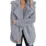 NUWFOR Casual Lapel Coat Women's Fleece Fuzzy Faux Shearling Zipper Warm Winter Oversized Outwear Jackets White
