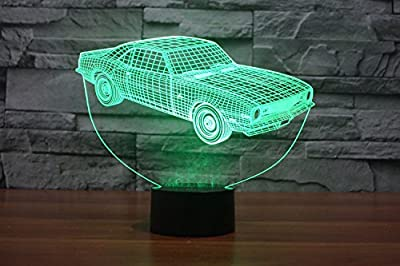 SUPERNIUDB 3D Novelty Sports Car Night Light LED USB 7 Color Change LED Table Lamp Xmas Toy Gift