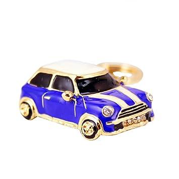 VORCOOL Llavero Cristal Modelo de Mini Cooper Llavero Metal Colgante de Bolso de Mujer Azul Profundo