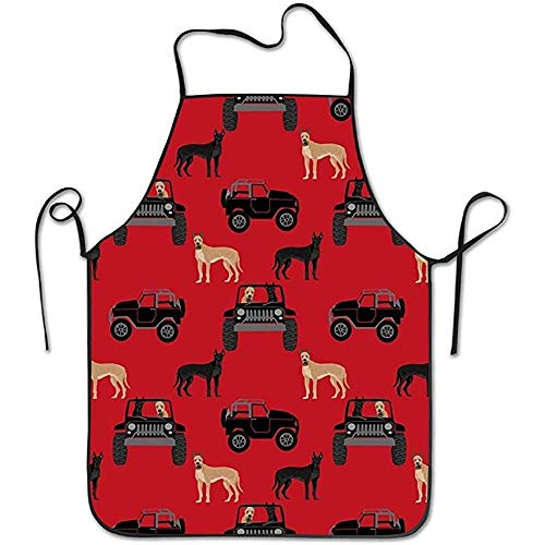 Great Dane in Car with Dog Cute Aprons Chef Kitchen Cooking and Men & Women Baking Bib BBQ Apron