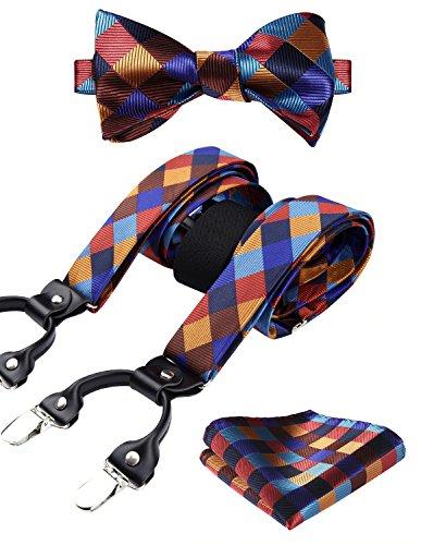 HISDERN Check Dots 6 Clips Suspenders & Bow Tie and Pocket Square Set Y Shape Adjustable Braces,Orange & Blue,One Size