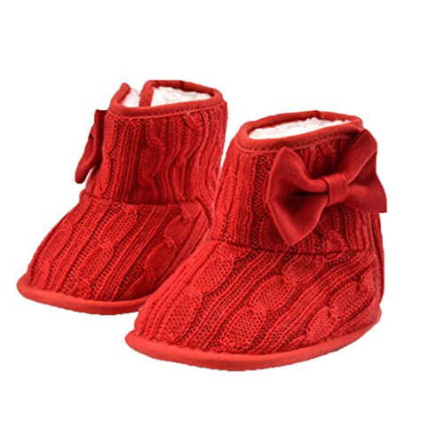 Baby Girls Winter Snow Boots with Bowknot (Red) - 9