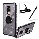 Black Glitter Case for Huawei Mate 20 Lite,Soft Rubber Cover for Huawei Mate 20 Lite,Herzzer Luxury 2 in 1 Crystal Bling Diamond Plating Frame Silicone Case with 360 Degree Ring Holder