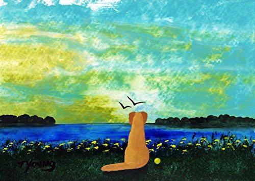 (Yellow Lab Dog Folk art print by Todd Young BEACH DAWN)