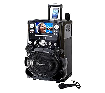 """Professional DVD/CDG/MP3G Karaoke Player with 7"""" Color TFT Display, Record, Bluetooth and Tote Wheels"""