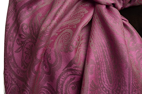 Mirrored Paisley On Ultra Pink Pashmina Feel With Tassels - Rose ?charpe Taille Unique - 70cm x 180cm