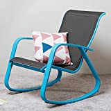 Grand patio Outside Rocking Chair Glider with Sturdy Blue Aluminum Frame,Garden/Porch/Inside Room