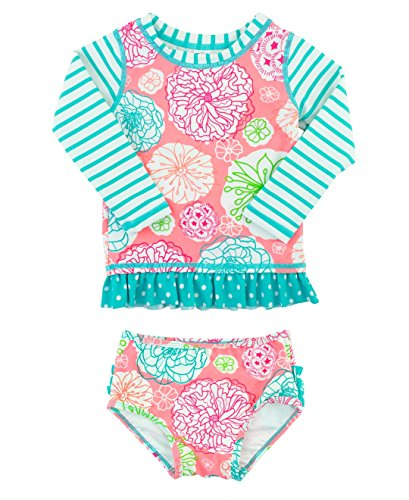 RuffleButts Little Girls Floral Striped Mix-Print Long Sleeve Rash Guard Set w/ Ruffles - Multi - 3T