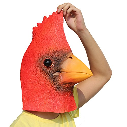CreepyParty Deluxe Novelty Halloween Costume Party Latex Bird Cardinals Head Mask Linnet ()