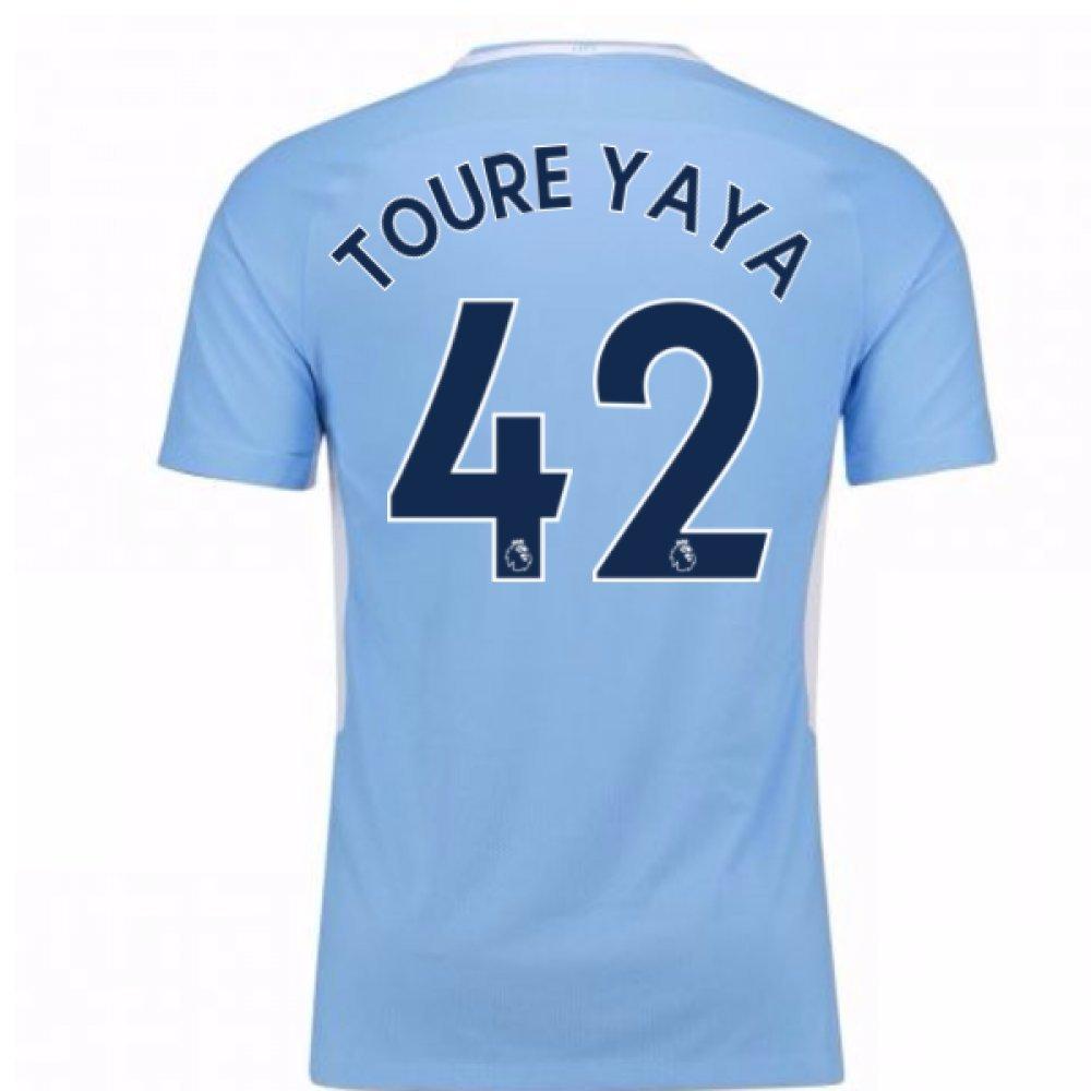 2017-18 Man City Home Football Soccer T-Shirt Trikot (Yaya Toure 42)