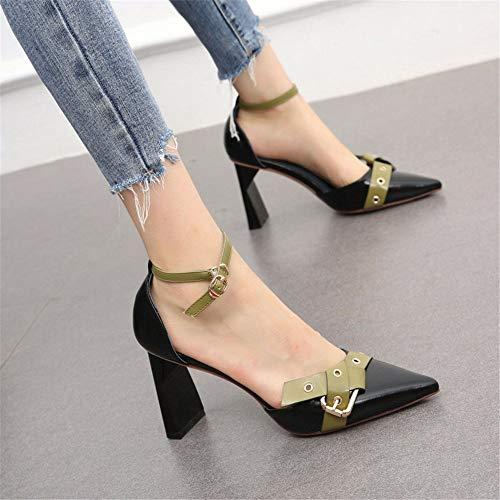 YMFIE Acentuado Moda Elegante Hueco Temperamento Color coincidentes Sexy Tacones Altos Solo Zapatos Damas Zapatos de Trabajo A