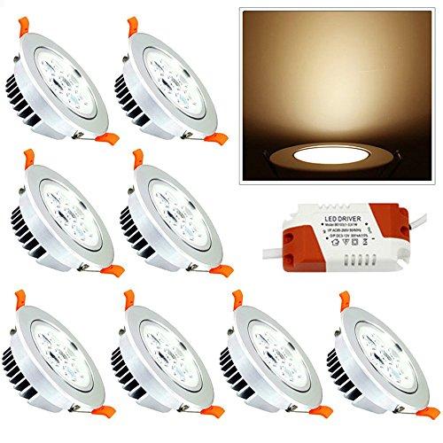 Hengda® 8X High Quality 7W LED Einbauleuchte Unterbauleuchte Dimmbar Kaltweiß Küchenlampen für Flur Wohnzimmer Möbel Lampen
