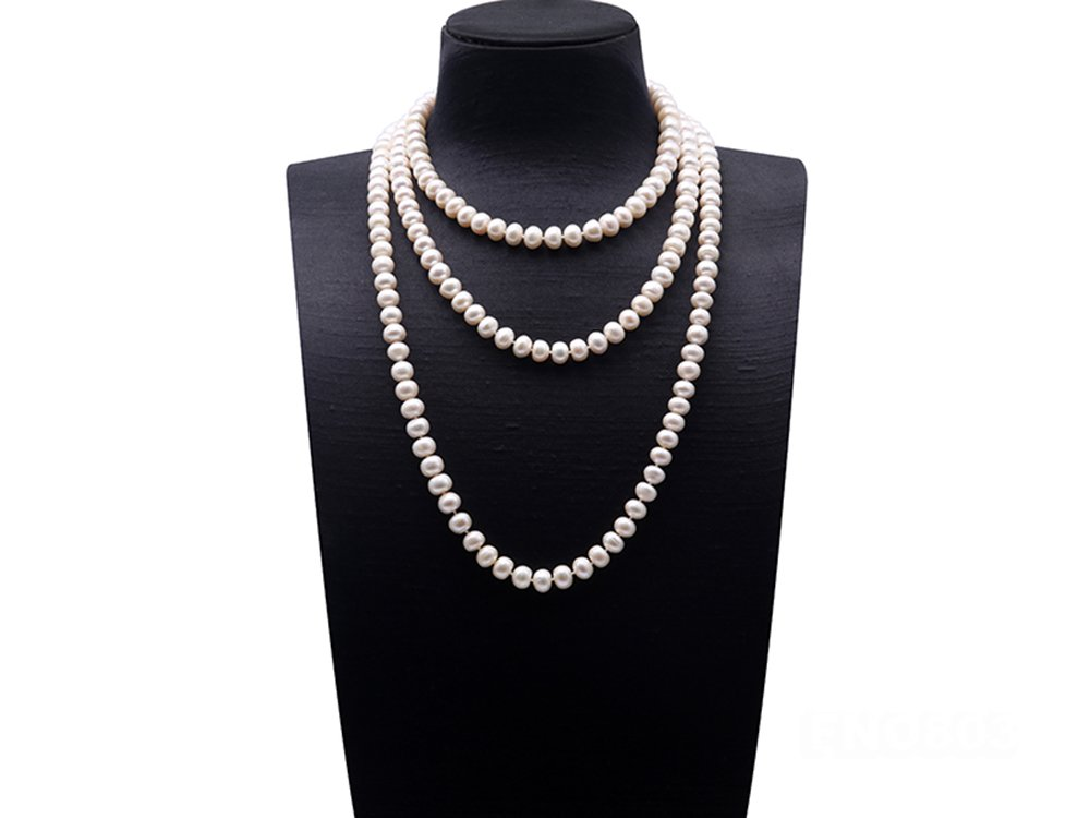 JYX 9-10mm Near-round White Cultured Freshwater Pearl Necklace Long Sweater Necklace 67''