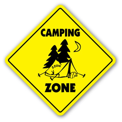 [SignJoker] CAMPING ZONE Sign xing gift novelty tent fire camp story telling games park Wall Plaque Decoration