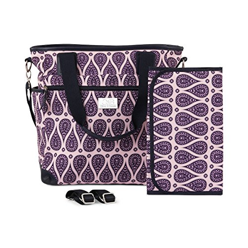Designer Baby Diaper Bag - Large Tote Nappy Bag. Adjustable Messenger / Shoulder strap. Includes Matching Change Pad and Stroller Straps. This Beautiful bag is a Stylish Mommy Bag for a Stylish Mom! - Paisley Stroller Bag