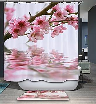 Izielad Naturansicht Rosa Blumen Baum Stoff Duschvorhang ...