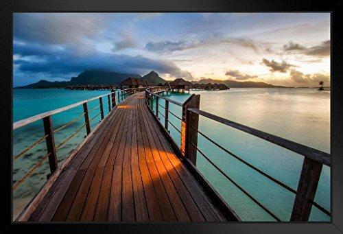 Bora Bora Framed - Bora Bora Tropical Island Sunset Photo Art Print Framed Poster by ProFrames 20x14 inch