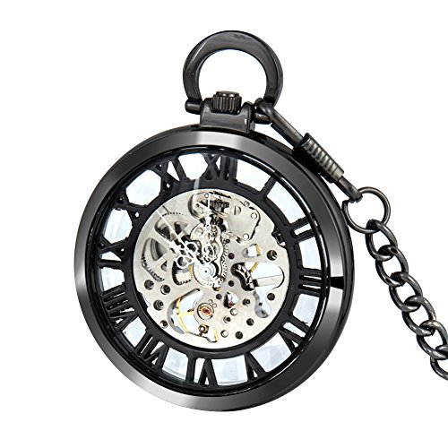 Vintage Mens Open Face Pocket Watch Steampunk Skeleton Mechanical Hand Wind Movement with Chain + Box by ielego