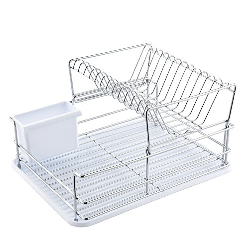 Glanzhaus 2-Tiered Stylish Designed Small Deep Stainless Steel Collapsible Kitchen Dish Drying Rack, Dish Drainer and White Cutlery Holder with Silicone Drainboard (Collapsible Rack Stainless Drying)