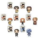 Harry Potter Herbology, Ron Weasley Herbology, Hermoine Granger Herbology, Ginny Weasley, Tom Riddle, Gilderoy Lockhart, and Nearly Headless Nick Blue Translucent Pop! Vinyl Figure set and Keychain.