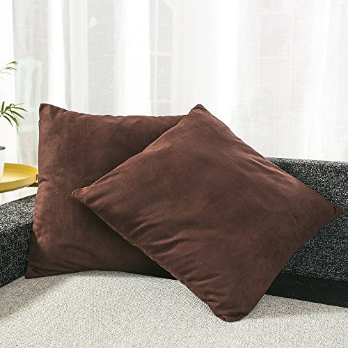 Pillow Chocolate Throw (BEST DREAMCITY Faux Suede Cushion Cover (Chocolate,18