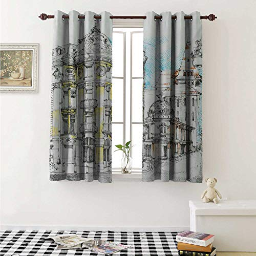 (Medieval Thermal Insulating Blackout Curtain Pale Sketch Design of Middle Age Renaissance Building European Old Town Cityscape Curtains Girls Room W55 x L39 Inch Multicolor)