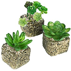 MyGift Set of 3 Decorative Green Realistic Mini Succulent Plants w/Brown Stone Pots 31