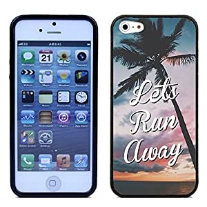 fashion case LEATHER BACK Direct UV Vibrant Print Apple iphone 6 4.7 & Apple iphone 6 4.7 Case - Hipster Quote Lets Run Away Love Life Verse UNIQUE Designer Leather Back TPU Case For Apple iphone 6 4.7 & Apple iphone 6 4.7 - Great Case Protection - Fits All Carriers - Satisfaction Guaranteed