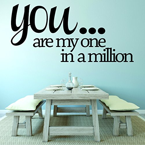 Design with Vinyl RAD 1057 1 You. are My One in A Million. Love Life Quote Wall Decal, Black, 12 x 18""