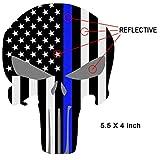 Reflective Punisher Skull 5.5 x 4.1 inch & US flag