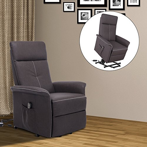 Cheap HomCom PU Leather 3-Position Electric Lift Chair and Recliner with Remote – Brown