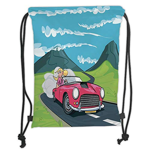 Cars,Blonde Girl Driving a Sports Car Through the Country in Cartoon Style Travel Road Trip,Multicolor Soft Satin,5 Liter Capacity,Adjustable String Closu