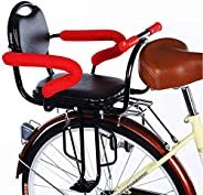 Child Bicycle Seat Rear Bicycle Baby Kids Rear Seat with Cushion Back Rest Foot Pedals/Armrest, Detachable Fen