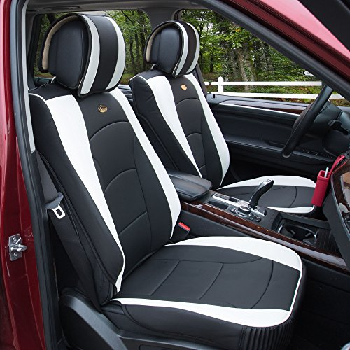 FH Group PU205WHITE102 Black PU205102 Ultra Comfort Leatherette Front Seat Cushions (Airbag Compatible) White