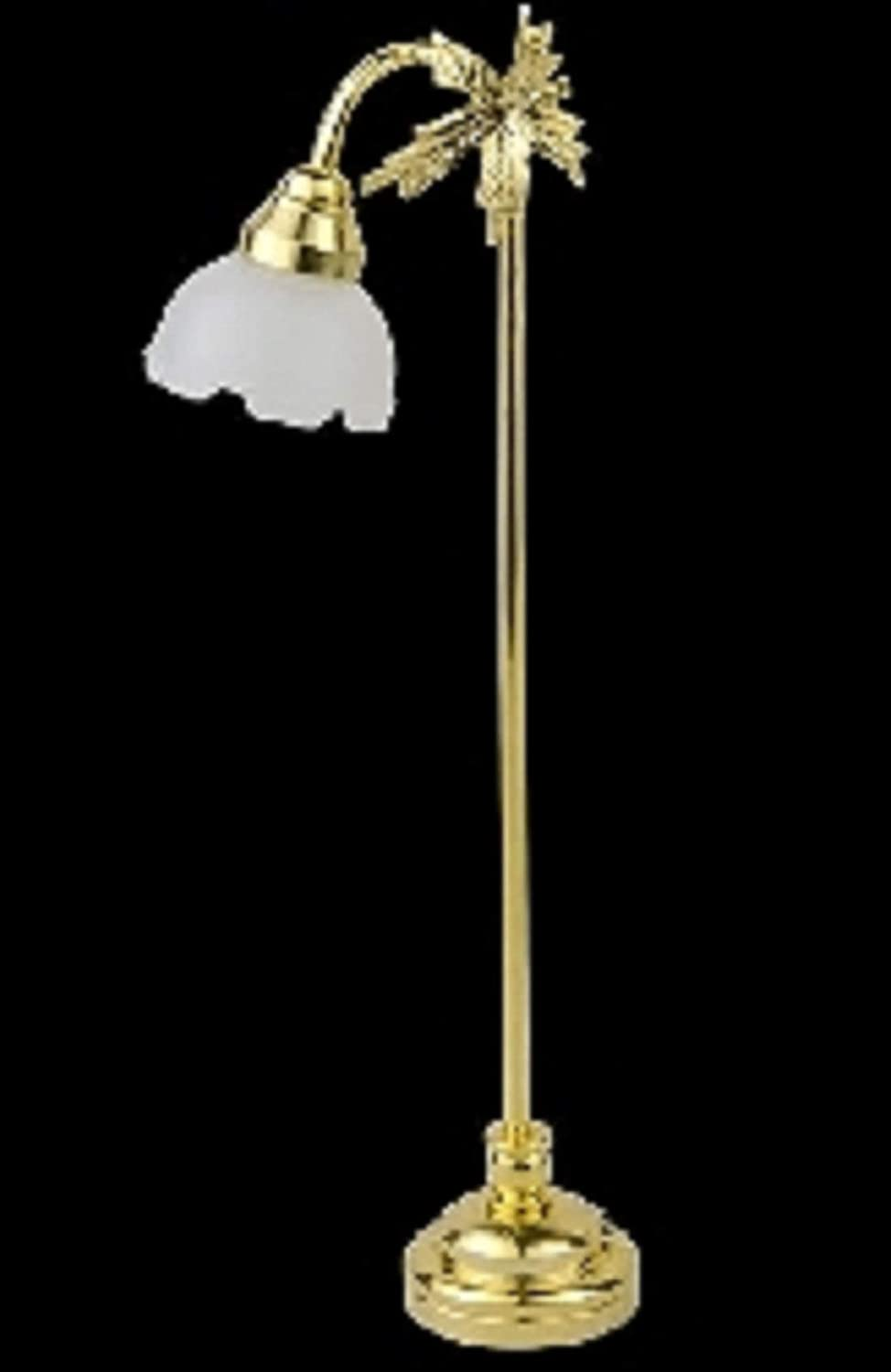 Melody Jane Dollhouse Brass Standard Lamp Fluted Shade Miniature 1:12 LED Battery Light