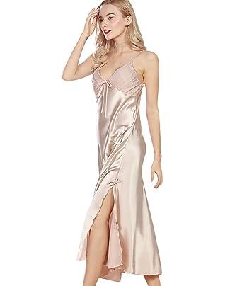 f480a925cf5 WanYang Femmes Peignoir Col V Pyjama Vêtement Classique Femme Satin  Déshabillé Dentelle