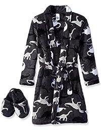 Big Boys' Buffalo-Check Robe With Slippers