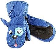 kids Warm Gloves,Children's Blue Cute Dog Fingerless Snow Ski Winter Snowboard Mittens for 4-6 Years Boys,