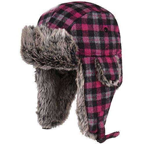 Winter Hats for Mens Bomber Hat Fur Red Warm Earflap Cap Windproof Women Thicker Plaid Russian Ushanka ()