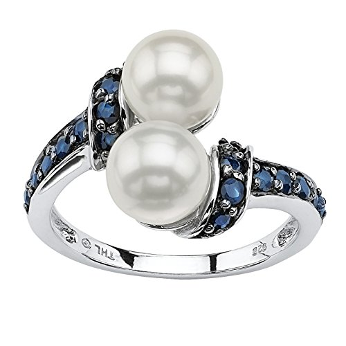 Midnight Blue Sapphire (Midnight Blue Genuine Sapphire and White Freshwater Pearl Platinum over .925 Silver Ring (7mm))