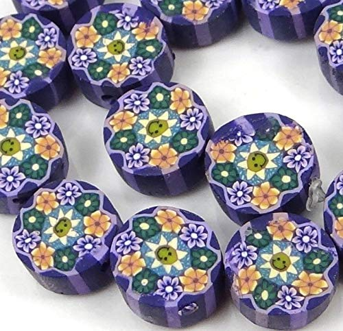 10mm Lavender Blossom Flower Polymer fimo Clay Disc Beads (16), Beading, Jewelry Making, DIY Crafting, Arts & Sewing by Perfect Beeds Store
