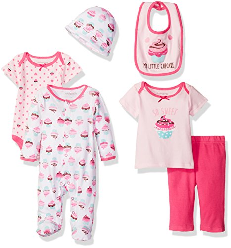 Nannette Girls' 6 Piece Gift Set, Cupcake, 3-6 Months