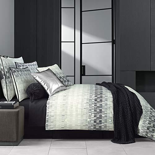 Five Queens Court Fulton Geometric 100% Twill Cotton 4 Piece Comforter Set, Black, Queen, ()