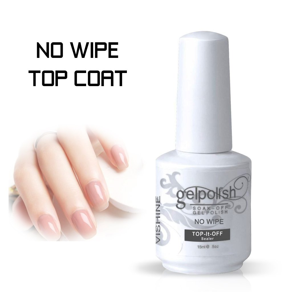 No Wipe Gel Top Coat, UV LED Cured Required Nail Art Soak Off Gel Nail Polish 0.5 Ounce by Vishine (No Cleanse) Gelpolish