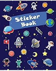 Sticker Book: Space Rockets Planets Icons Blank Sticker Book for Boy Collection Notebook Page Size 8x10 Inches 80 Pages Children Family Kids Activity Book