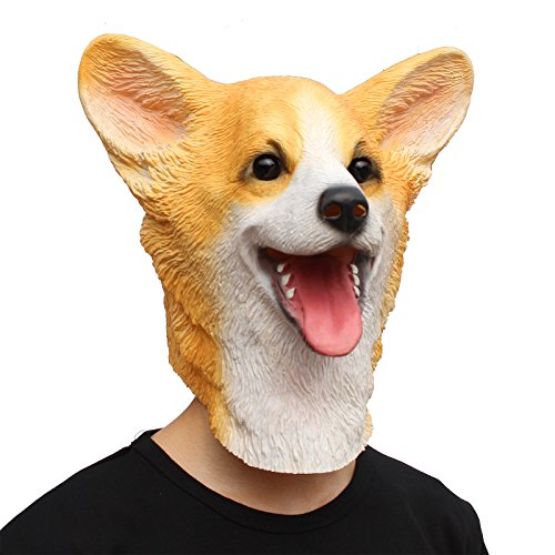 CreepyParty Halloween Costume Party Latex Animal Dog Head Mask Welsh (Welsh Corgi Head)