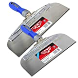 Offset Taping Knife Set - 10'' and 12'' Knives - Stainless Steel with Soft Grip Handle