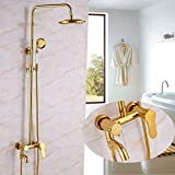 Bath Faucet Sets Rozin Wall Mounted Bath Rainfall Shower Set Tub Faucet + 8-inch Top Showerhead + Hand Spray Gold Polished
